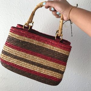 VINTAGE Y2K Wheat Straw Striped Woven Mini Bag